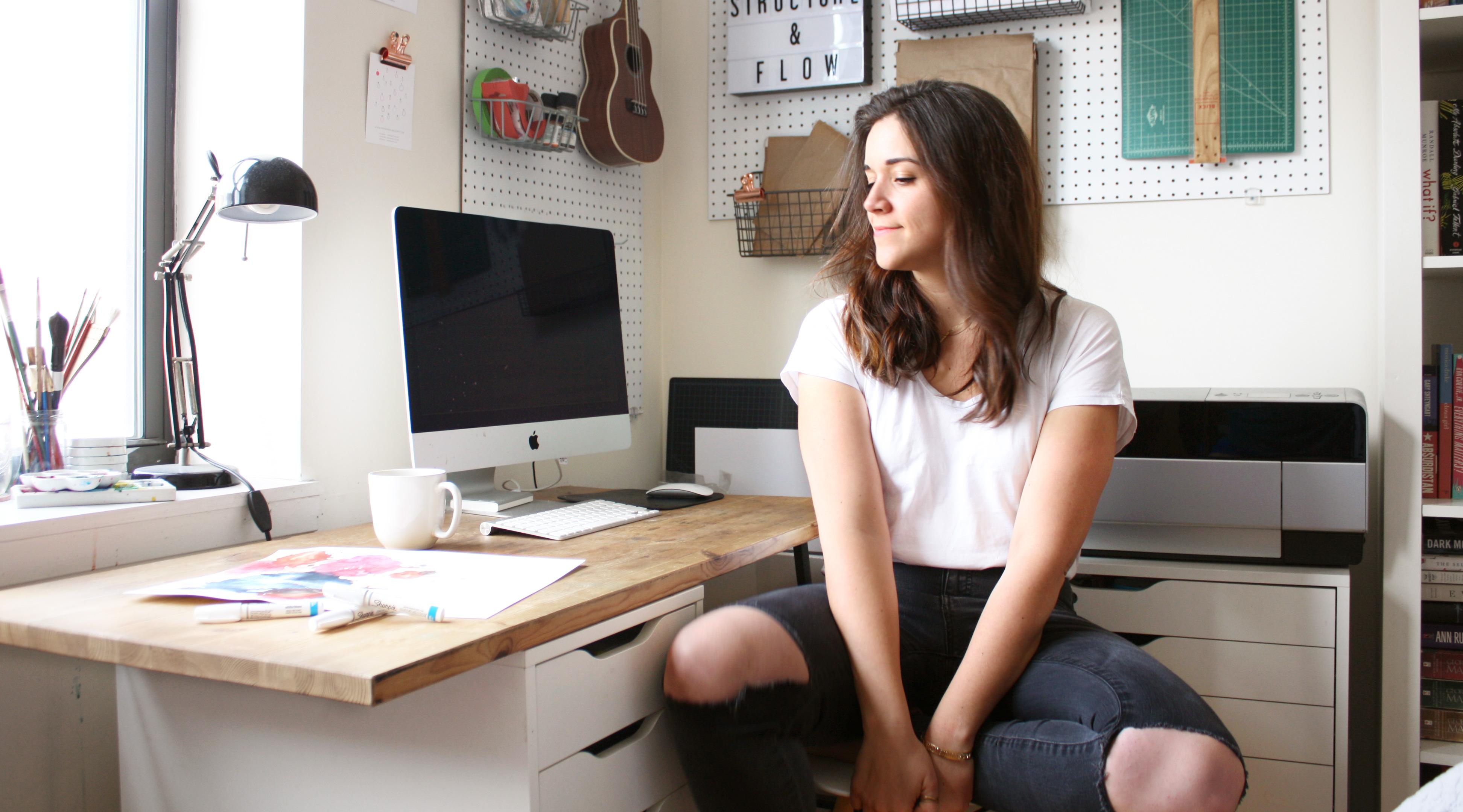 Amanda Michele Art at her workspace in Gowanus, Brooklyn